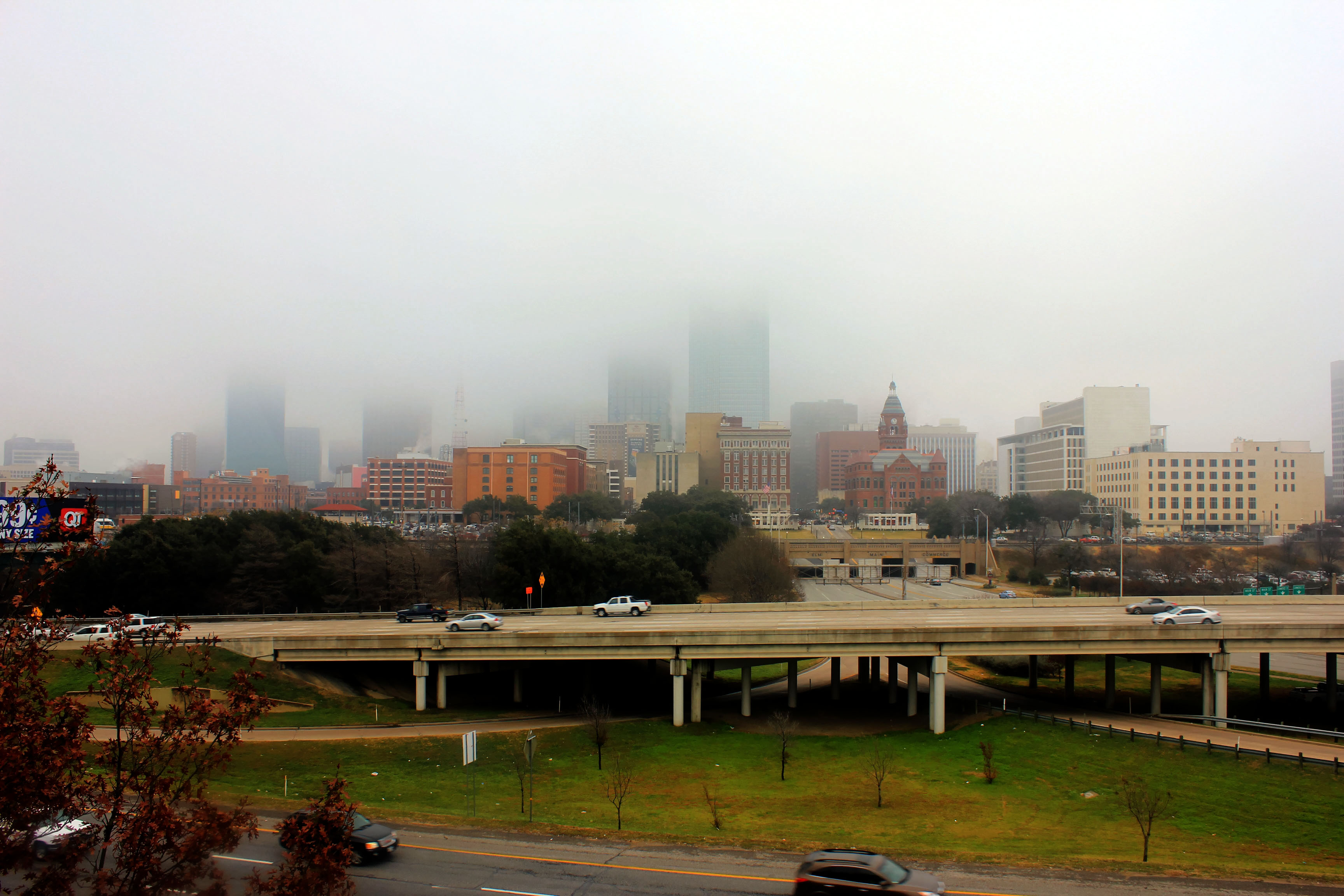 Dallas under fog