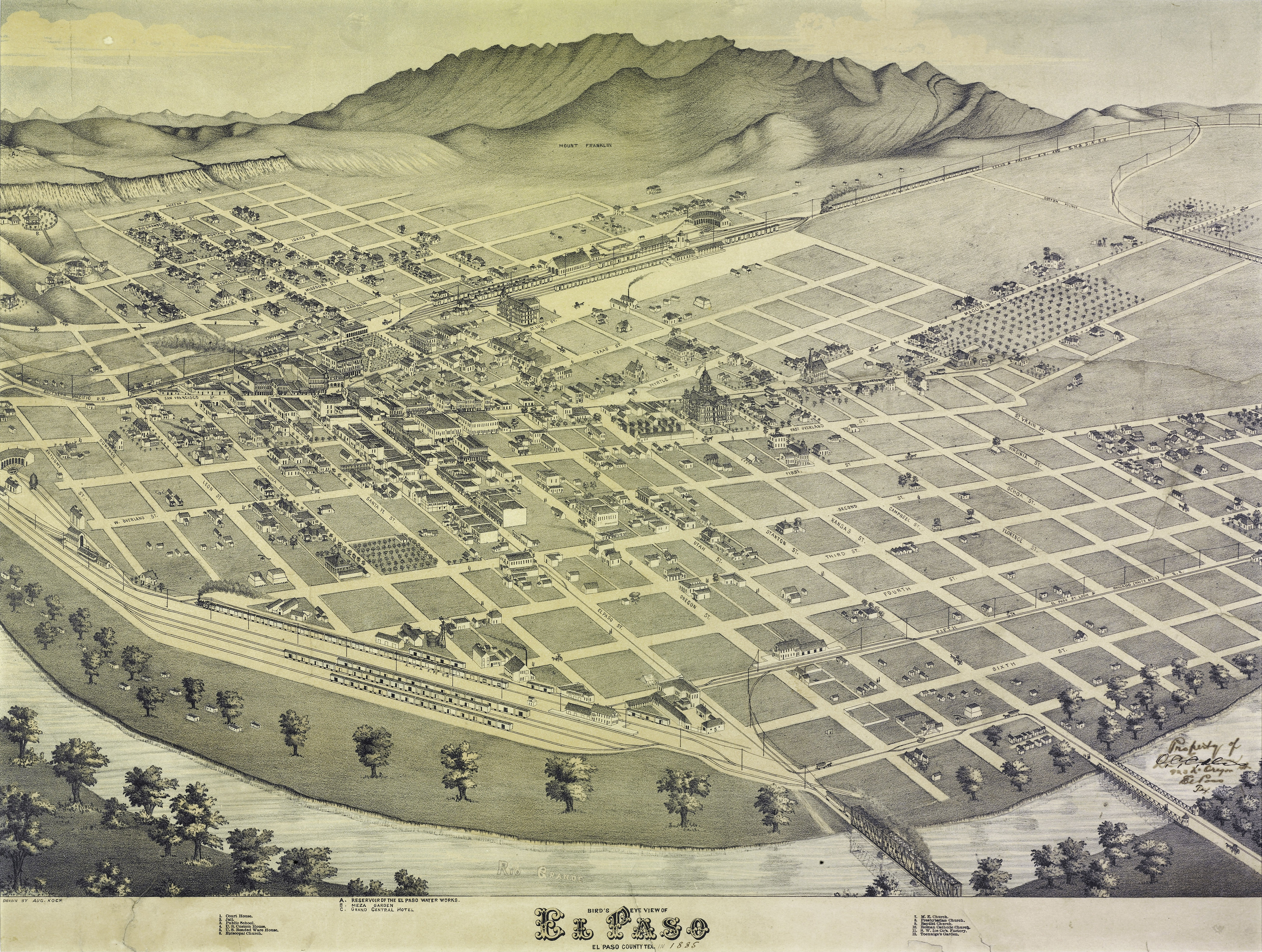 Map of El Paso in 1886 in Texas image - Free stock photo - Public ...