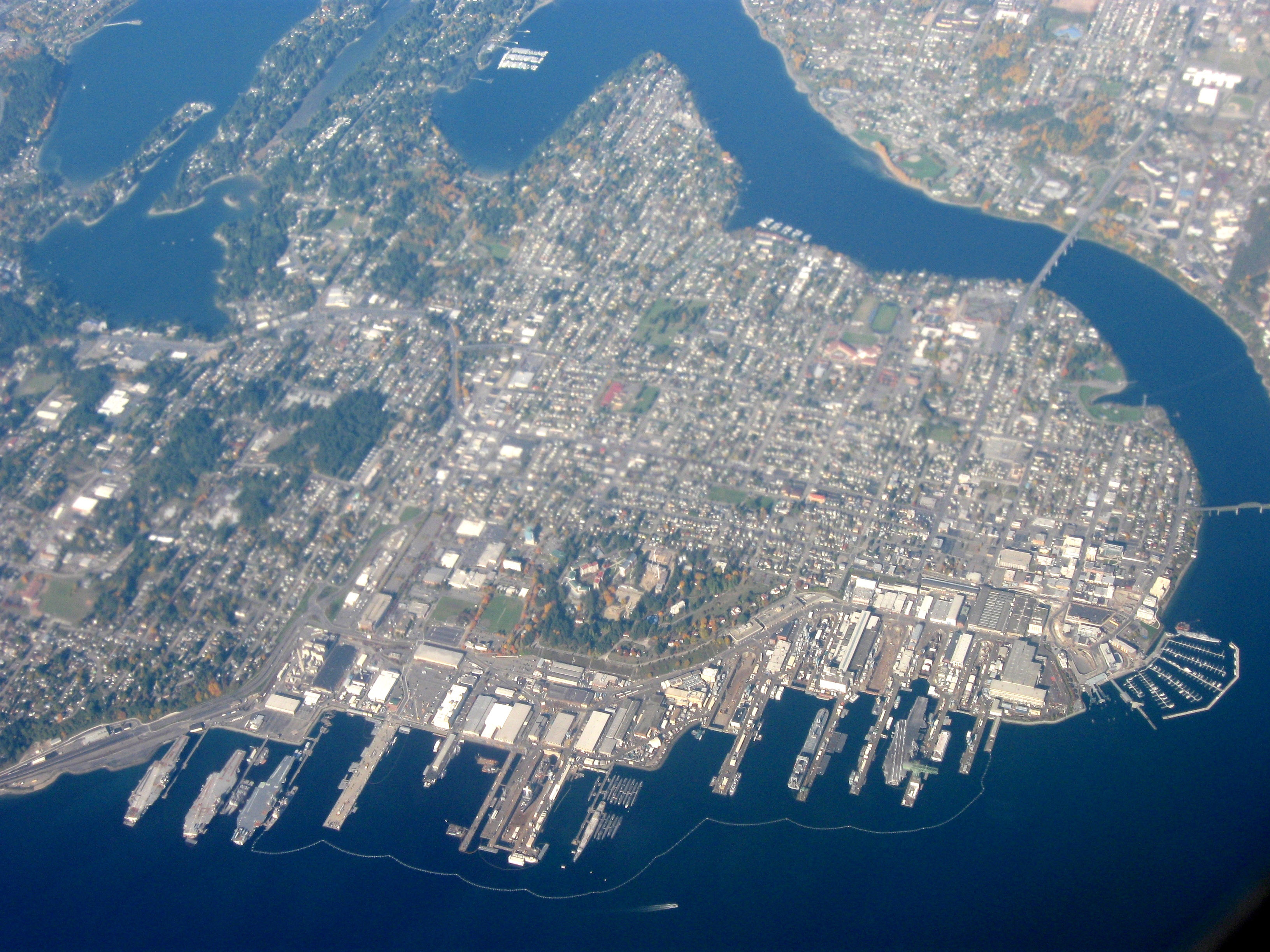 Aerial View Of The City With Puget Sound Naval Shipyard In