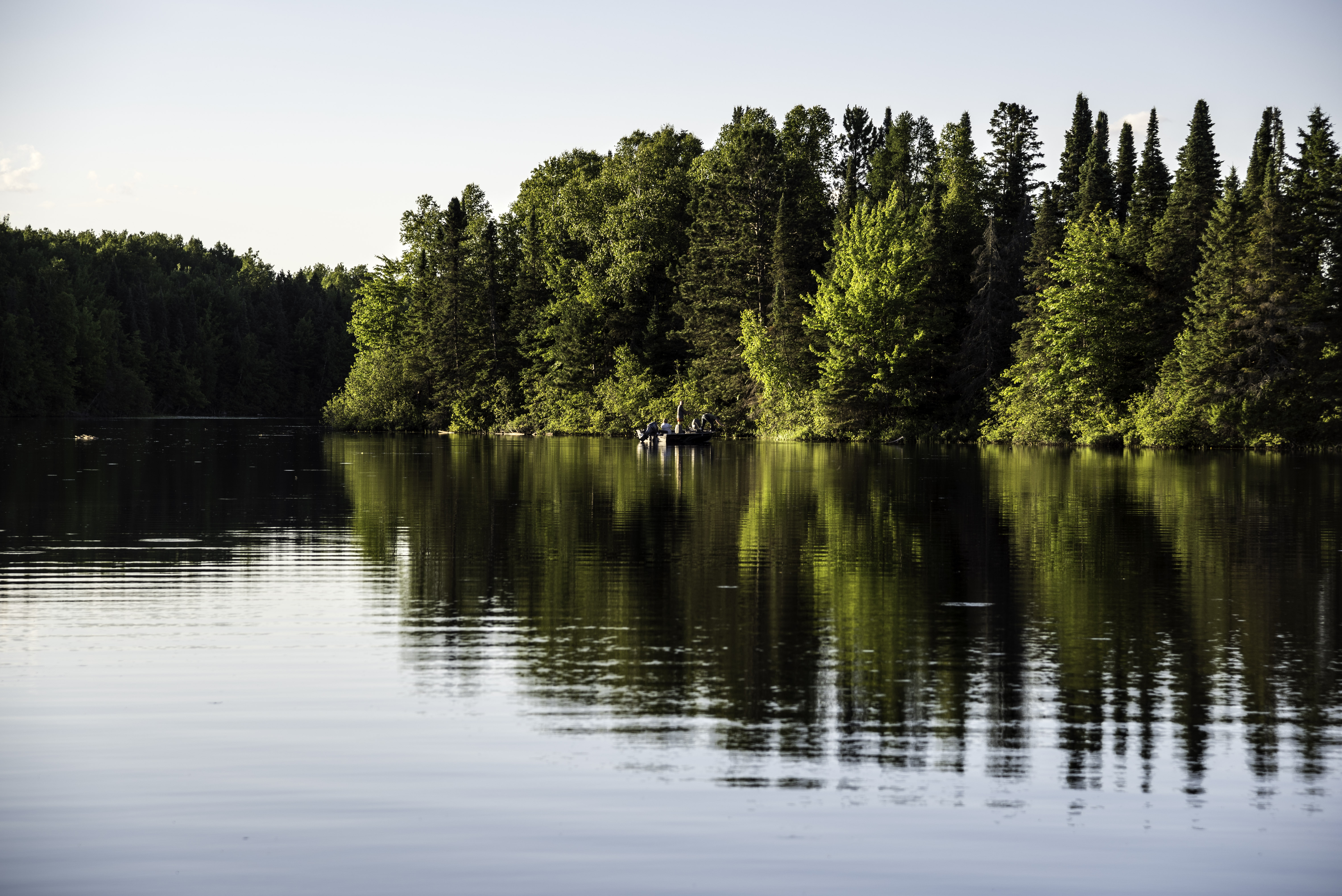Fishing Boat On Day Lake In Chequamegon National Forest Wisconsin Image Free Stock Photo