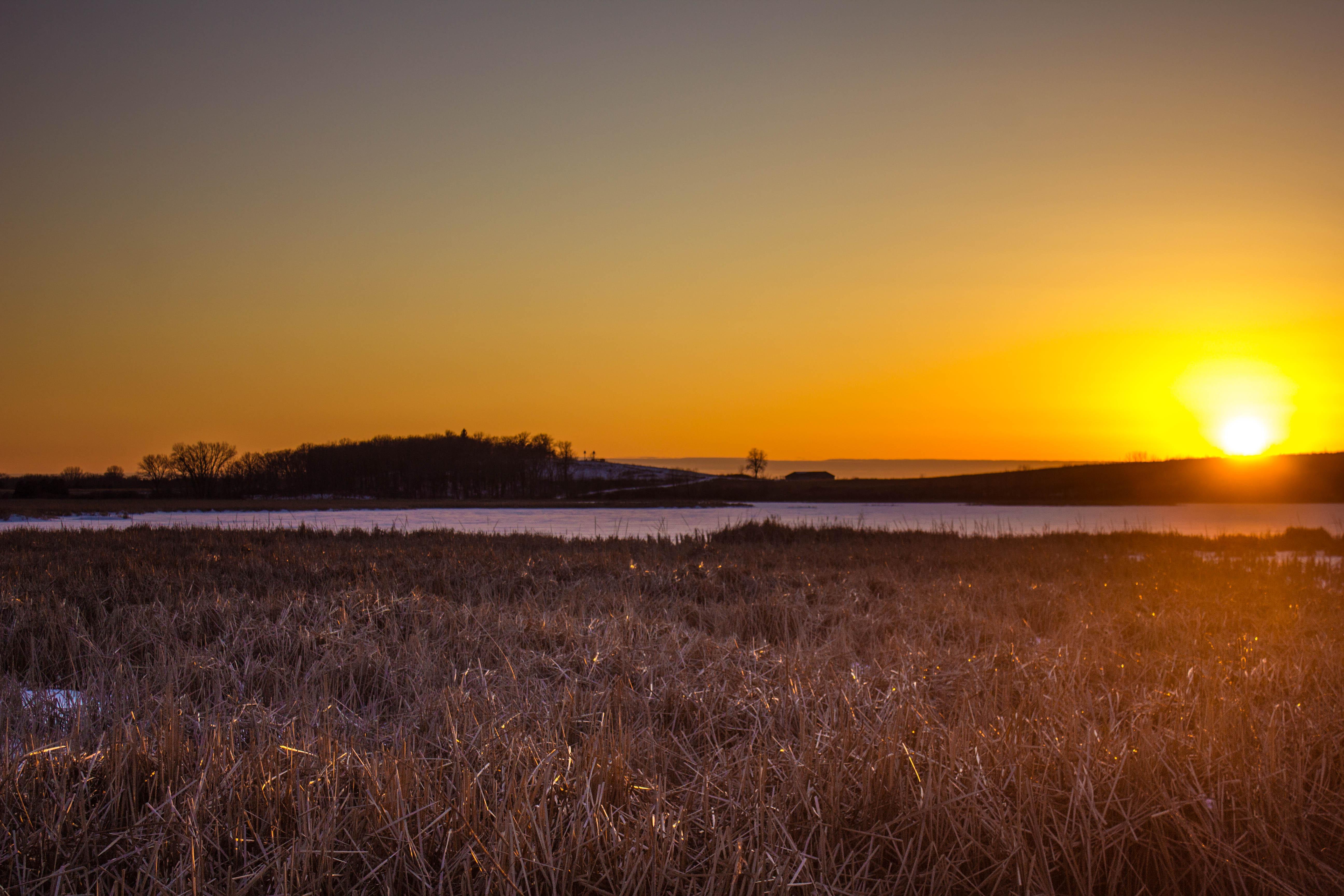 Sunset and Dusk at the wildlife refuge, Wisconsin image ...