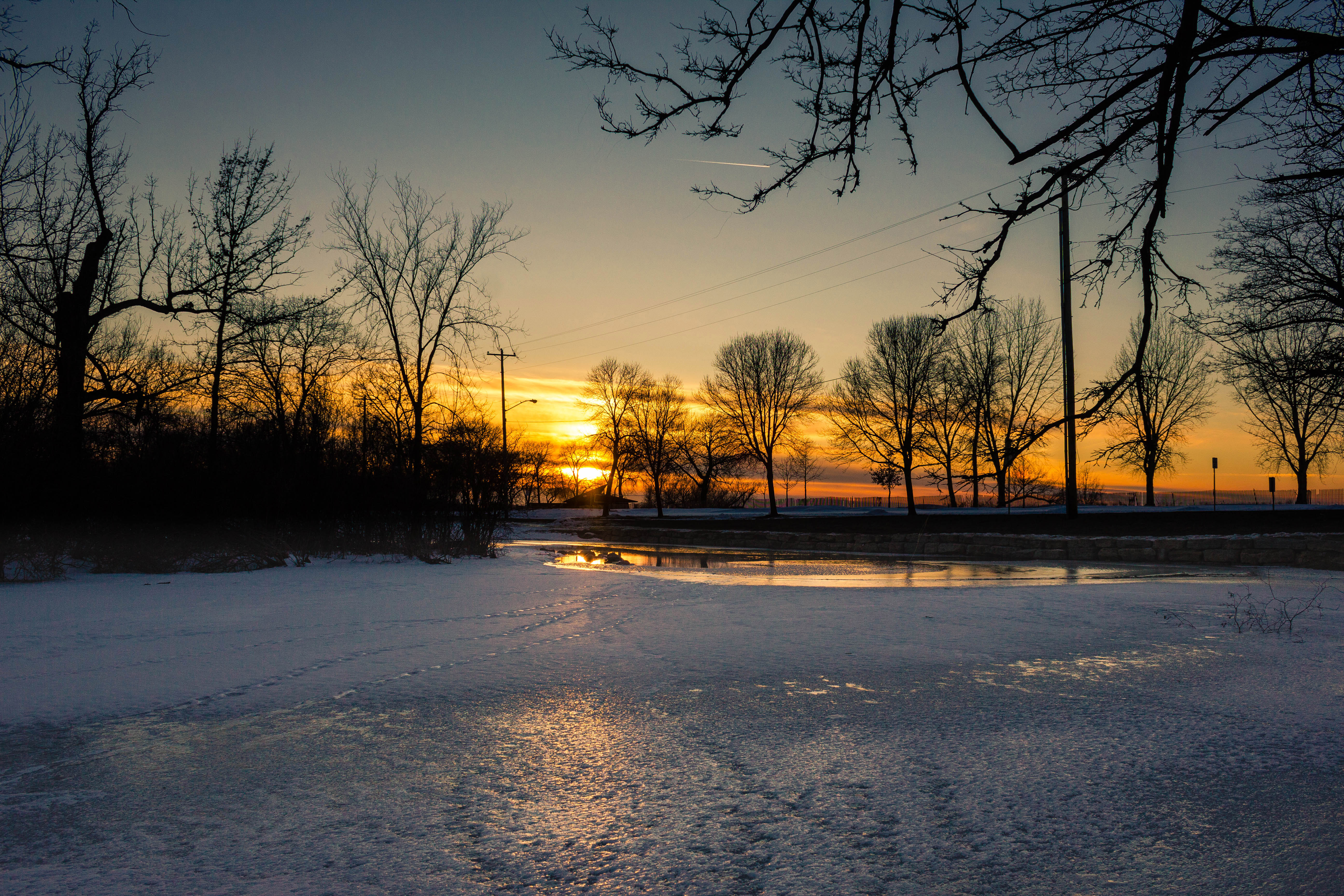 Icy Sunset At Tenney Park In Madison Wisconsin Image Free Stock Photo Public Domain Photo