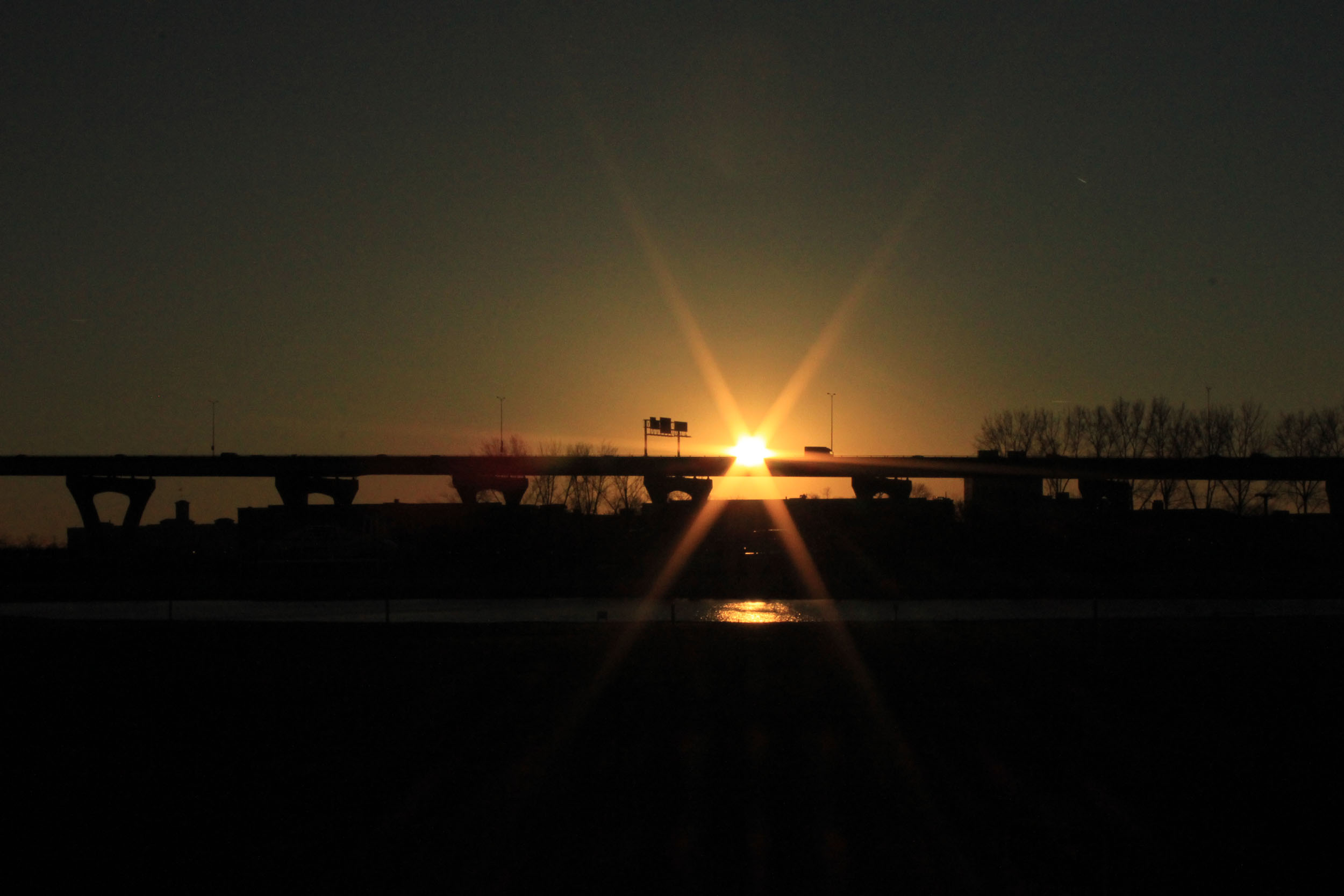 Sunset Behind Highway