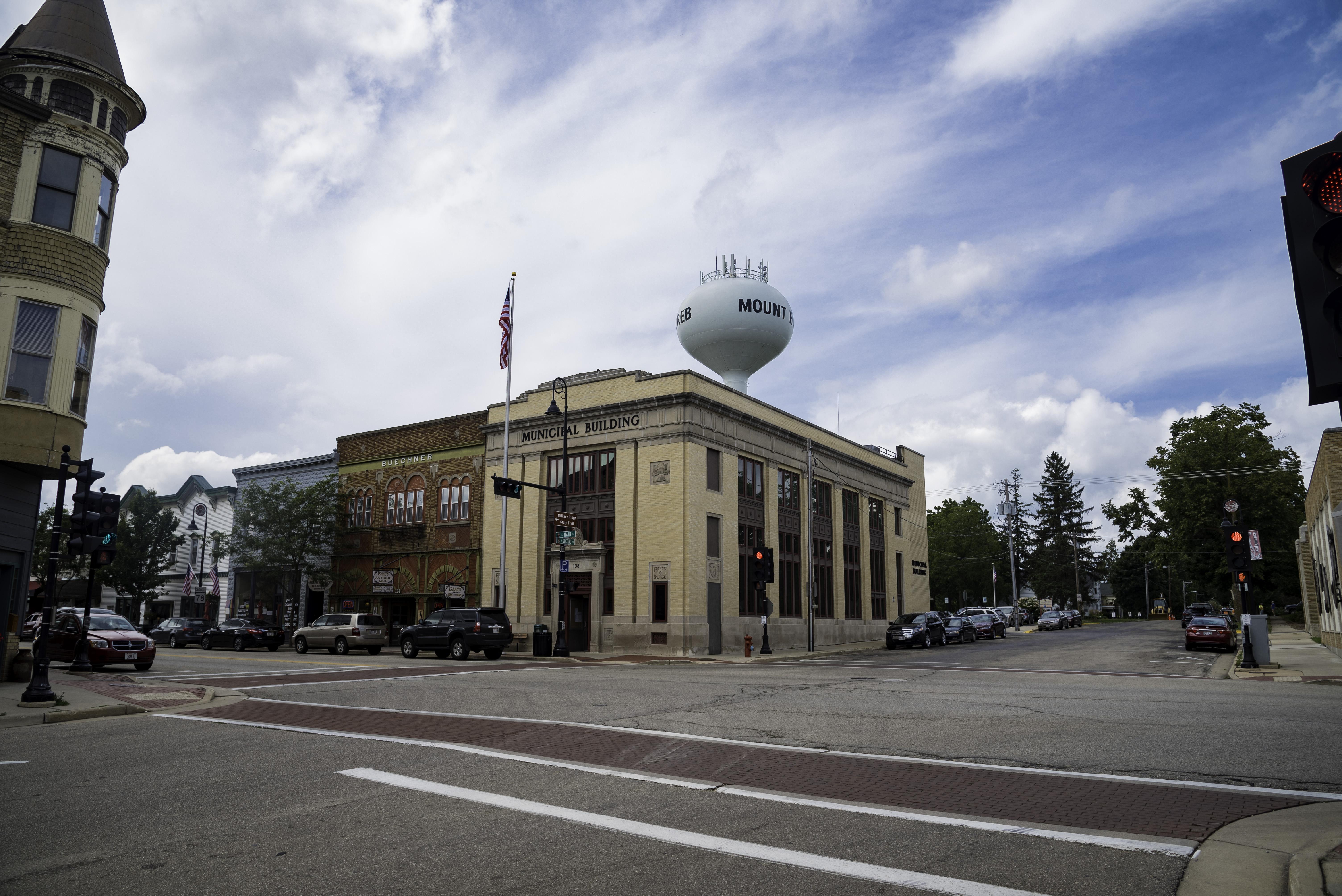 Street Corner in Mount Horeb, Wisconsin with Water Tower image