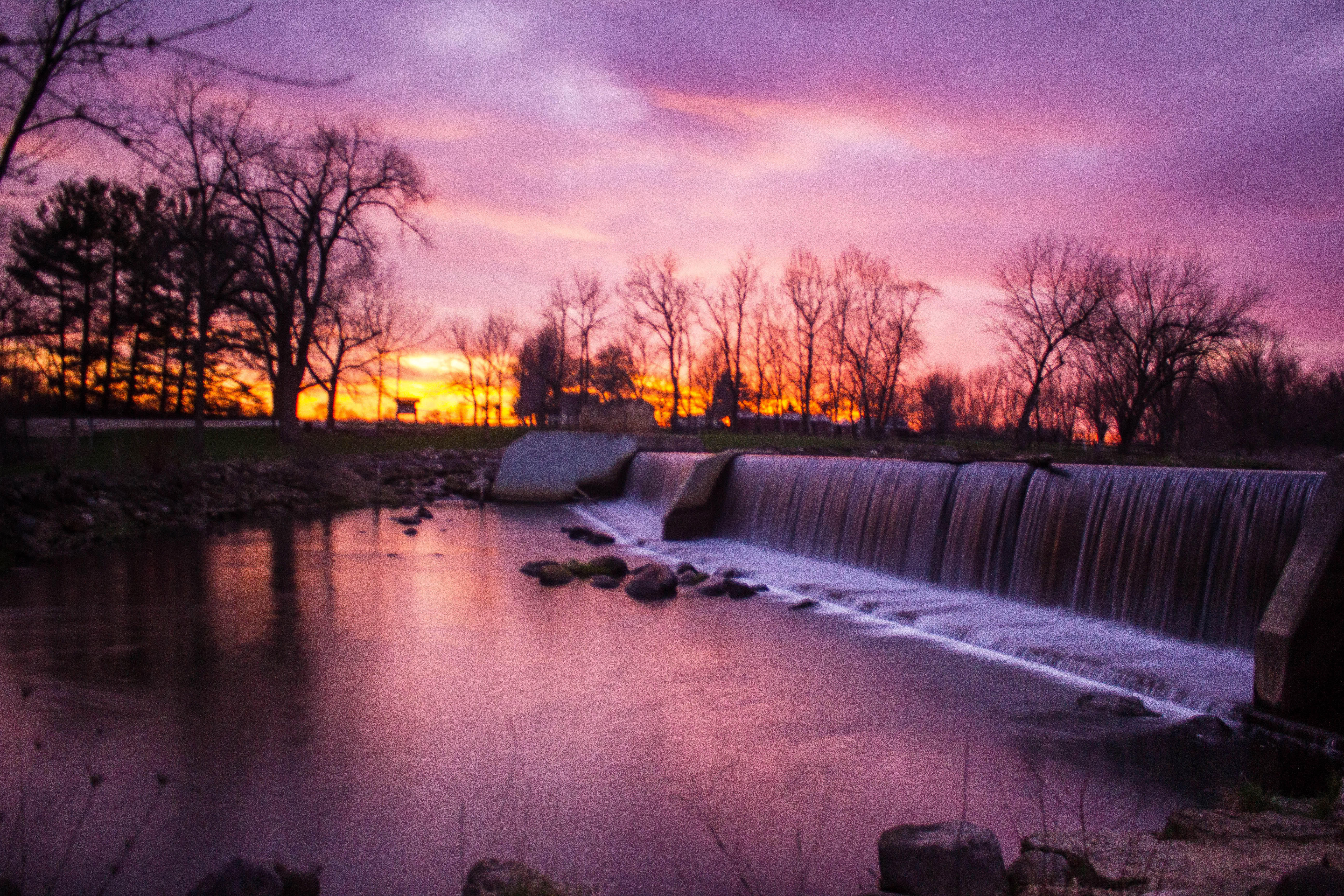 Landscapes And Purple Sunset At Beckman Mill Wisconsin