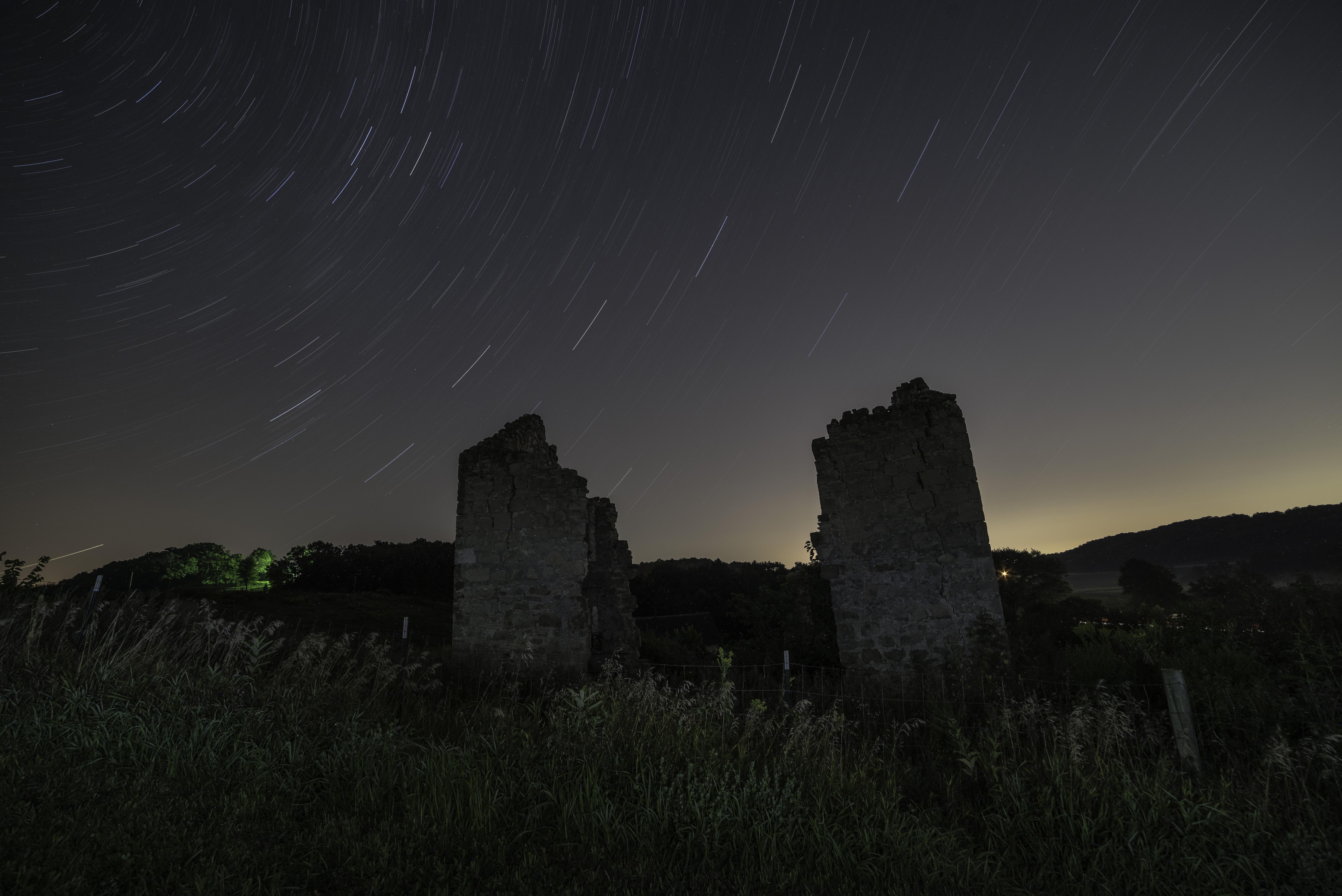 Star Trails over abandoned house image - Free stock photo - Public