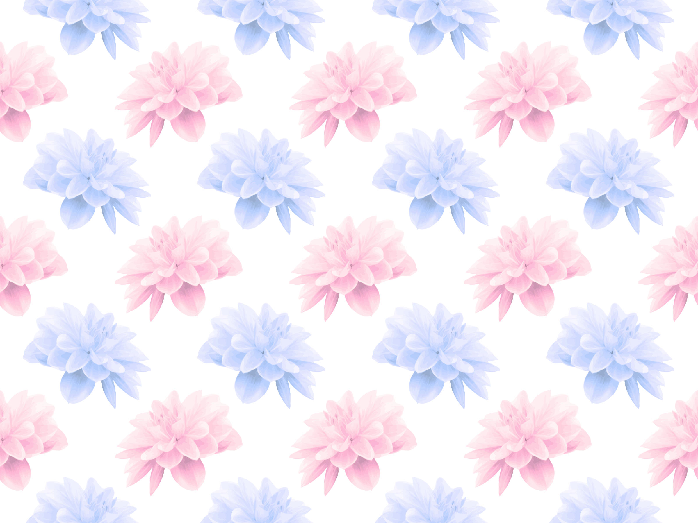 Blue And Pink Flowers Vector Clipart Image