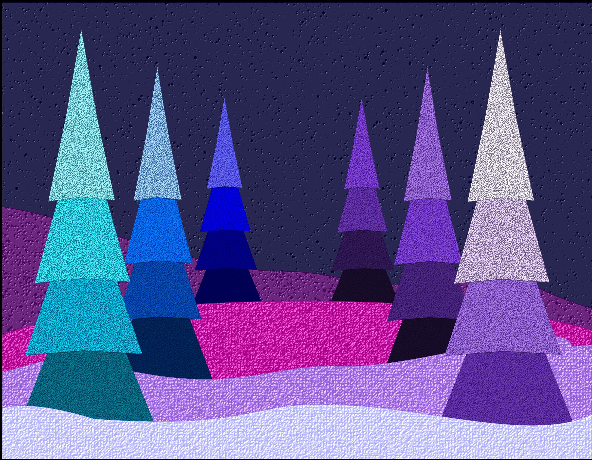 Blue and Purple Christmas Scene vector