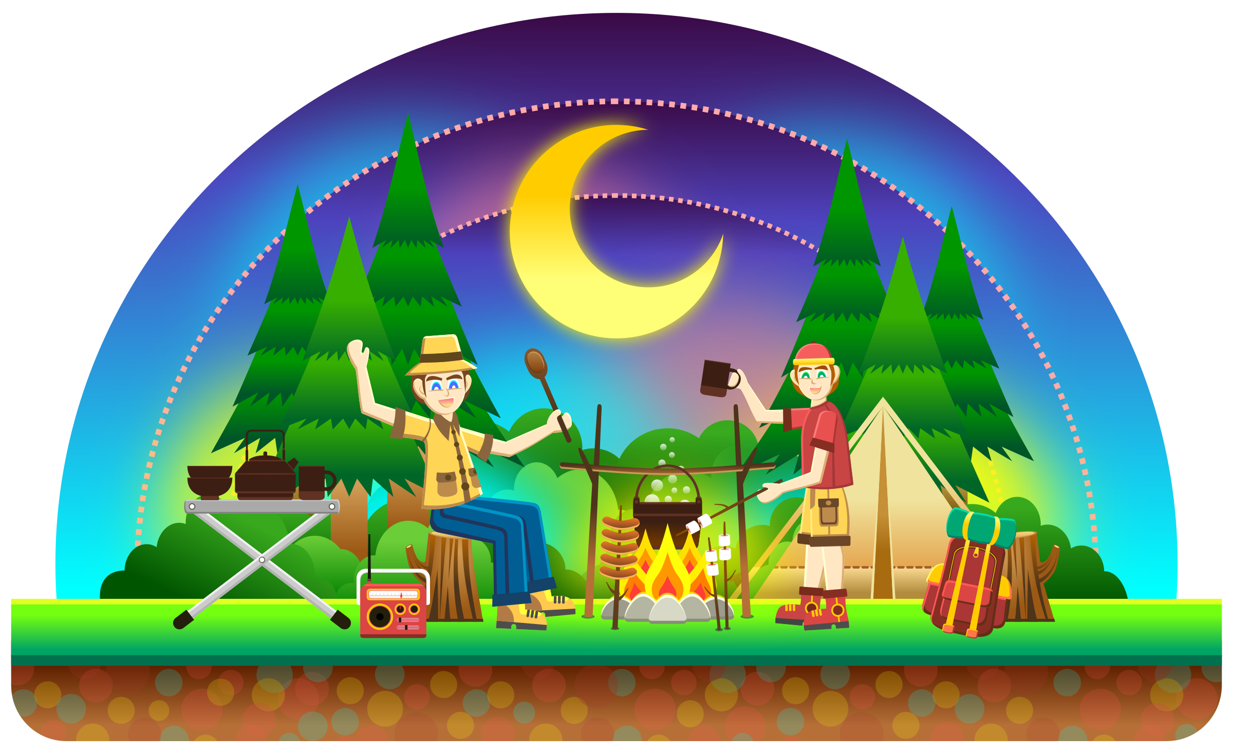Camping Snowglobe vector clipart image - Free stock photo ...
