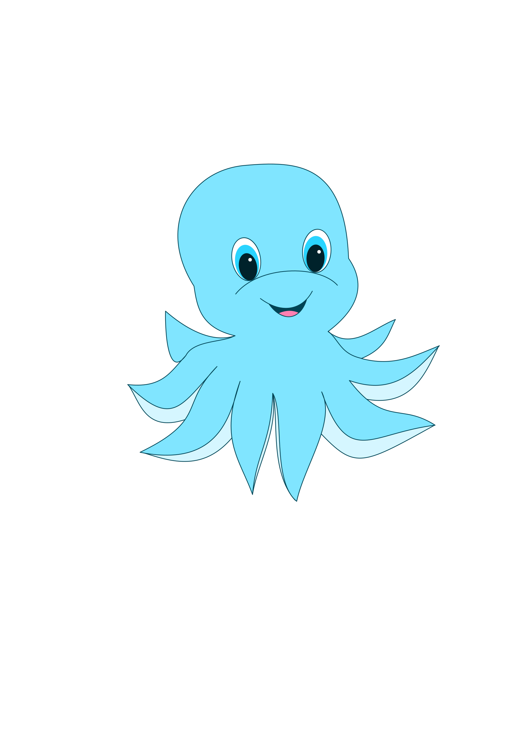 Cute Blue Octopus Vector Clipart image - Free stock photo ...