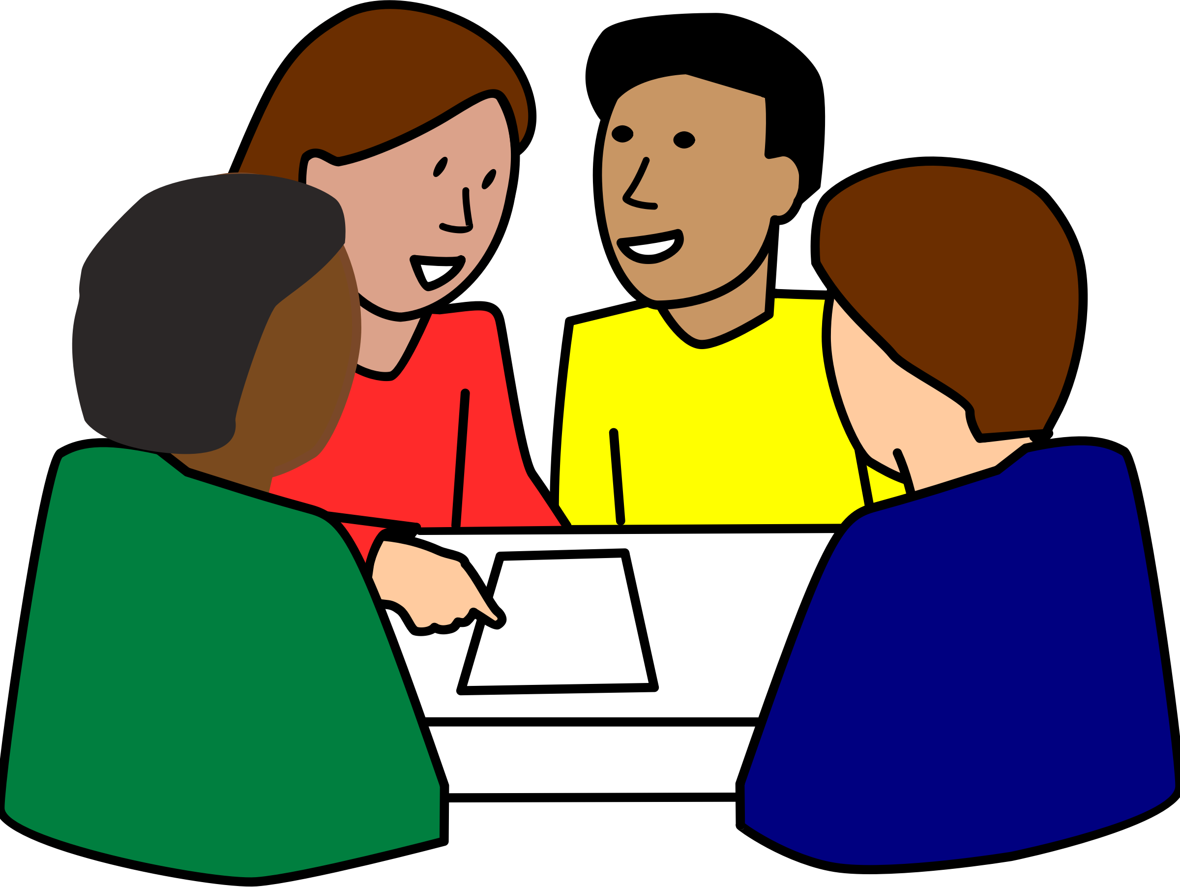 Diverse Group of Students working on project vector clipart image ...