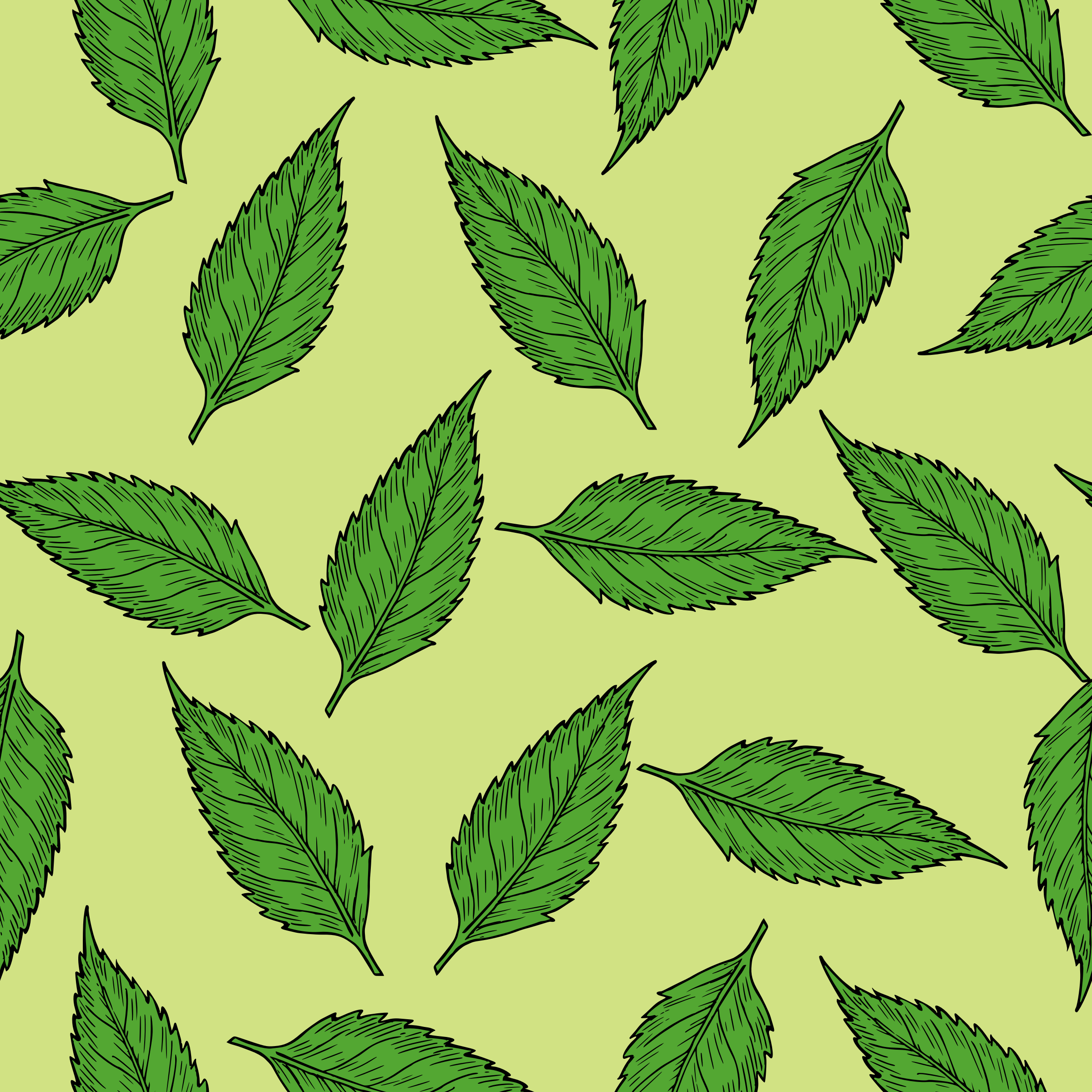 Green Leaves Pattern Vector Clipart Image Free Stock Photo