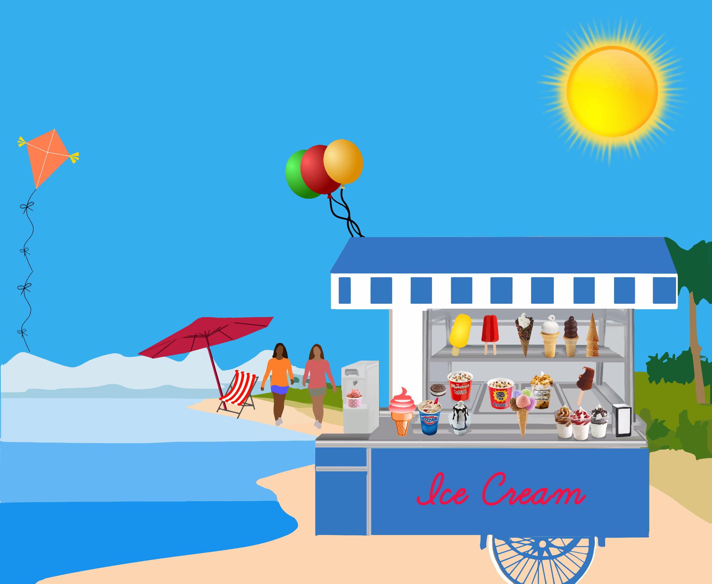Ice Cream Cart on Beach vector clipart image - Free stock ...
