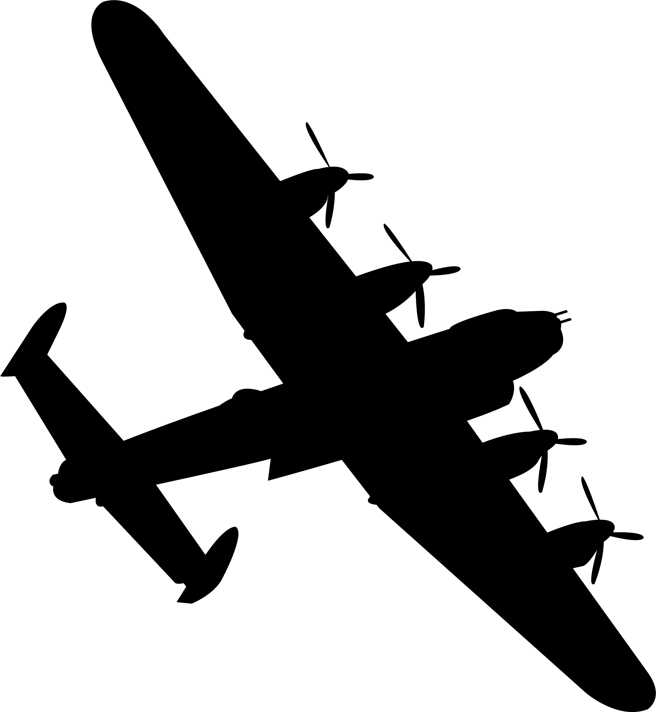 Lancaster Bomber Black Silhouette Vector Clipart Image Free