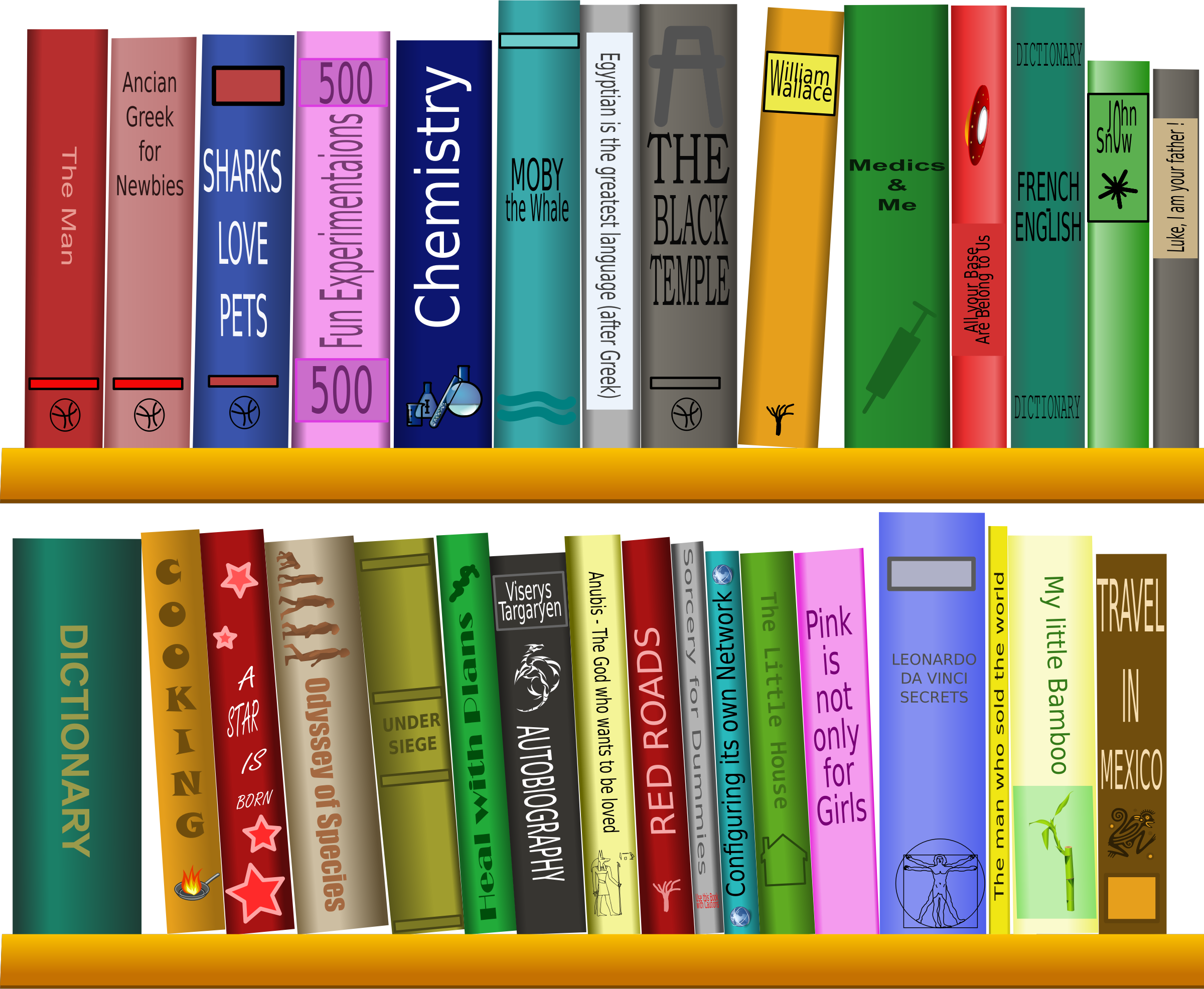 Many Books On The Shelf Vector Clipart Image Free Stock