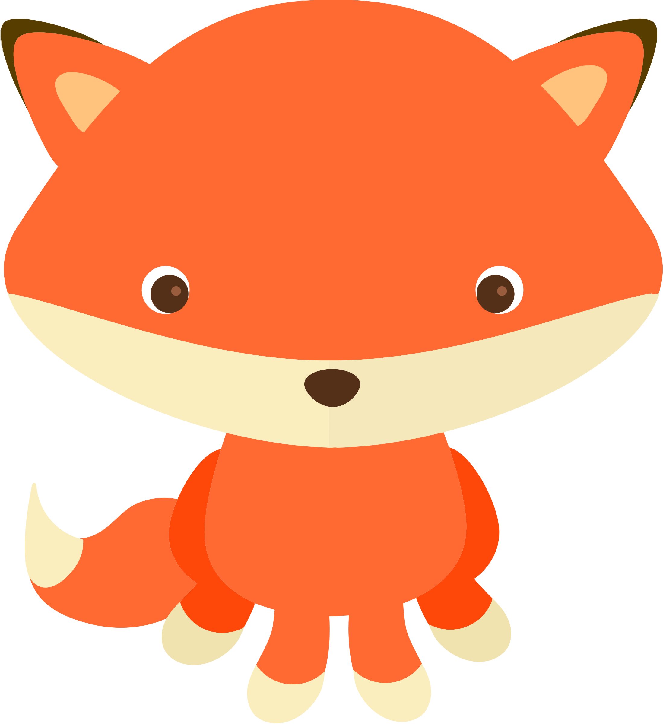 Fox cute. Orange vector clipart image
