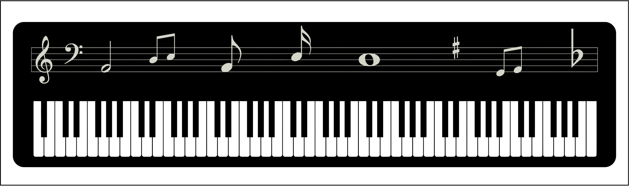 Piano Keyboard with Notes vector file image - Free stock ...