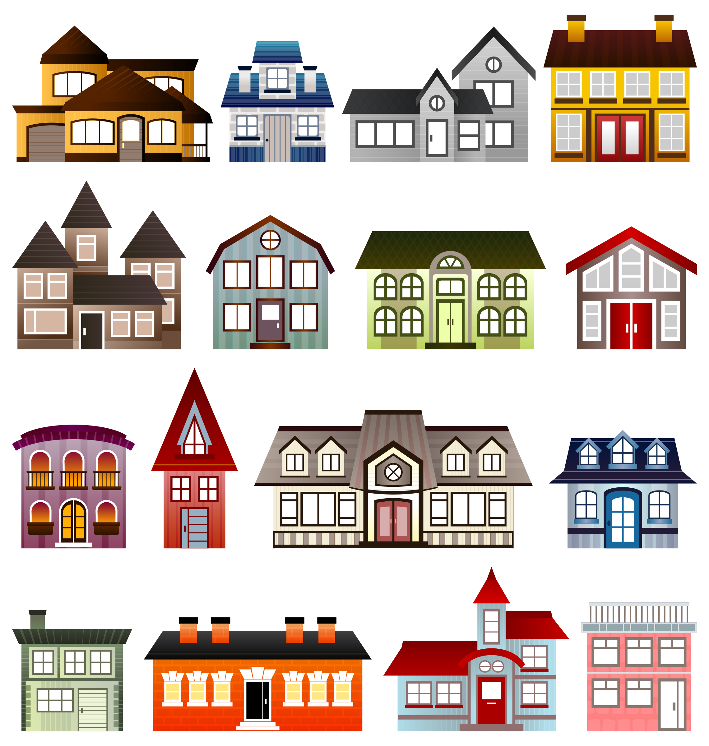 Simple Houses Vector Clipart Image Free Stock Photo