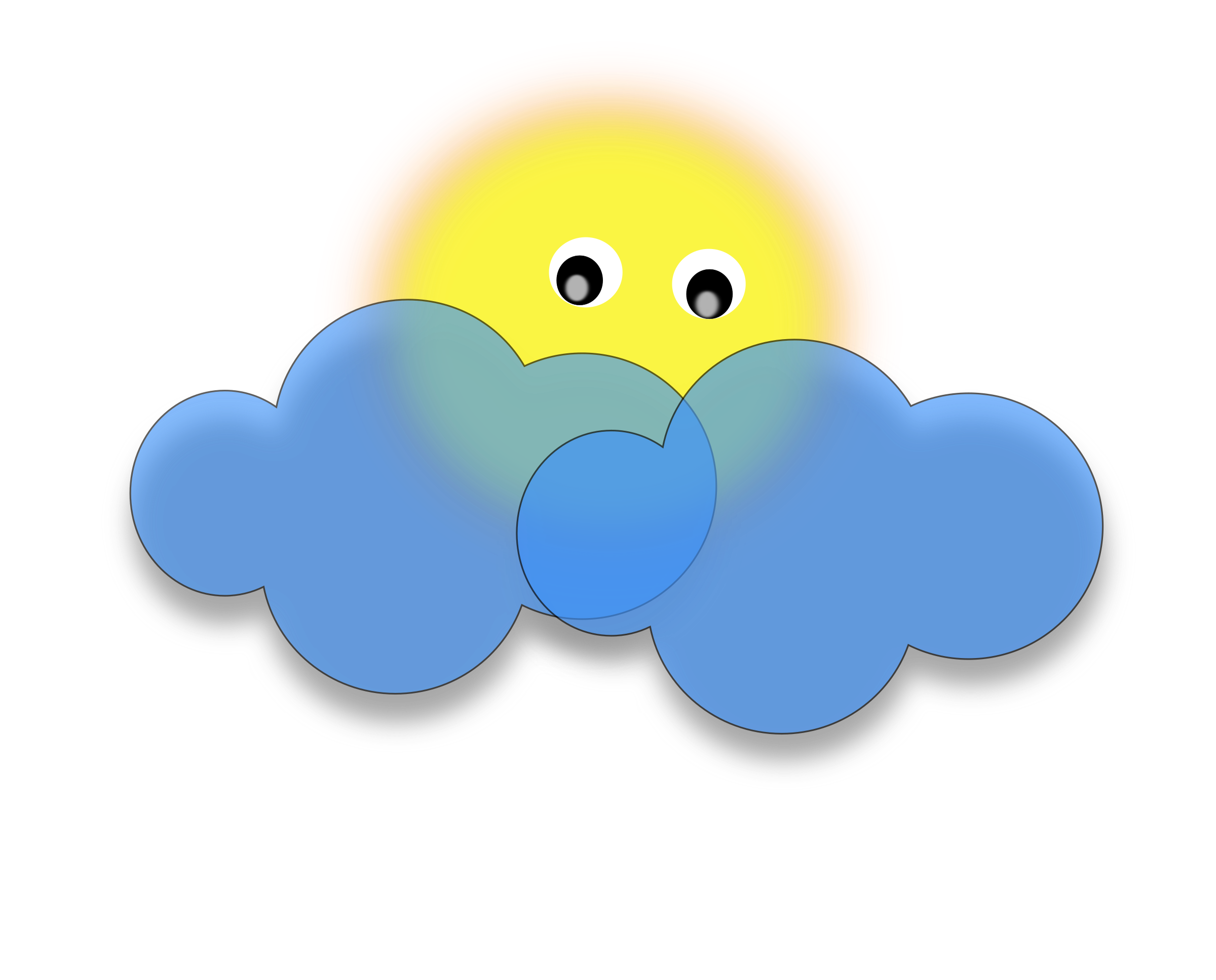 sun behind the cloud vector clipart image free stock photo