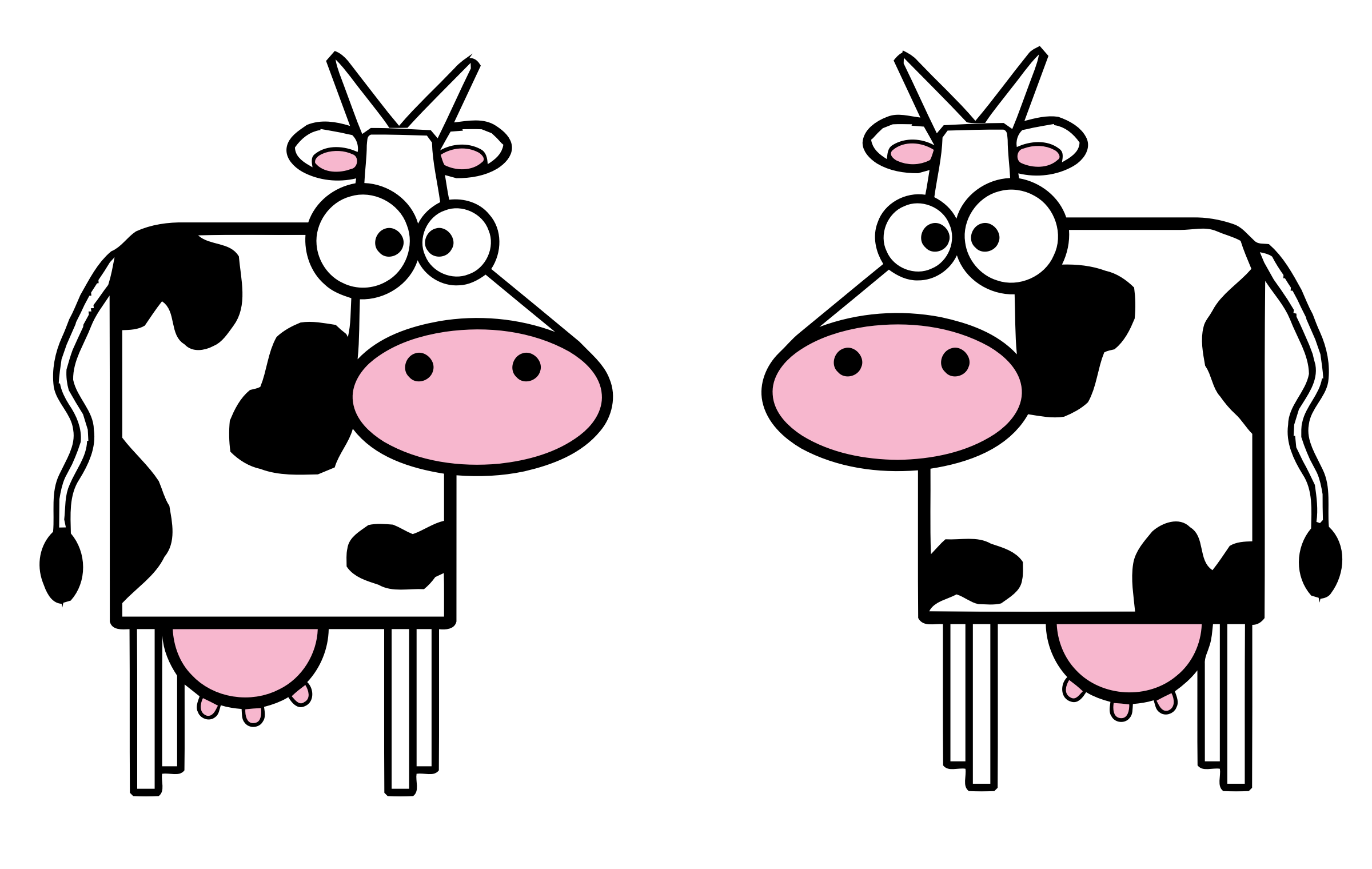 Two Cartoon Cows vector clipart image - Free stock photo ...