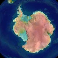 Topographically colored view of Antarctica