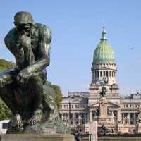 Rodin's Thinker in front of congress at Buenos Aires, Argentina