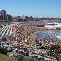 Beach and Crowd at Mar Del Plata, Argentina