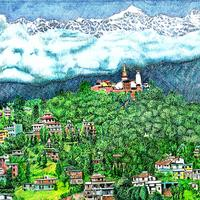 Artist Drawing of the Peaks of Katmandu Peaks