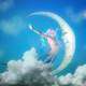 Blue Mermaid Jumping at the Moon 3d Model
