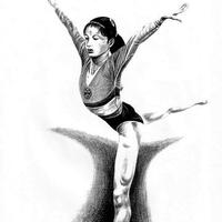 Chinese Gymnast Pencil Drawing