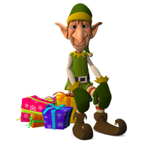 Christmas Elf Sitting on Presents