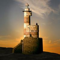 Computer Visualization of Lighthouse at Sunrise