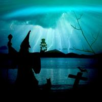 Creepy Witch in fantasy blue landscape with lightning