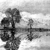 Dal Lake landscape black ink