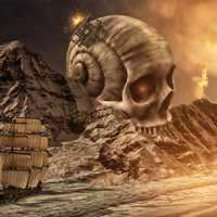 Fantasy Landscape with Ship and Skull