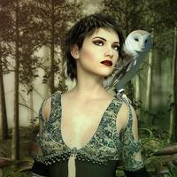 Gothic Female Model with owl on shoulder