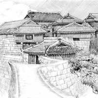 Japanese Castle Ink Drawing