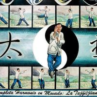 Karate man practicing in front of Yin-Yang