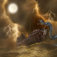 Monster Sea Serpent attack boat in the Ocean