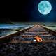 Moon over the train tracks with ladybug