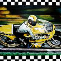 Motorcycle Racer Kenny Roberts acrylic painting