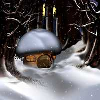 Mushroom house in the snow in the woods