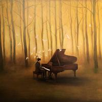 Playing Piano in the deep wood waterpainting