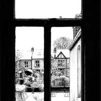 Winter in the Suburbs through the Windows with Black Ink