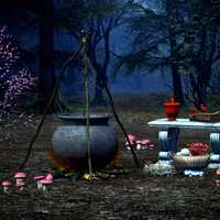 Witch Cauldron and Ingredients in the woods