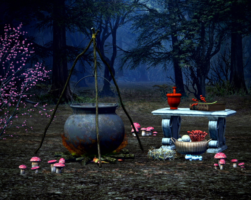 Witch Cauldron And Ingredients In The Woods Image Free