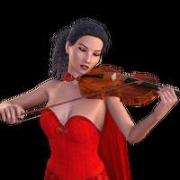 Woman in Red Dress playing violin 3d model
