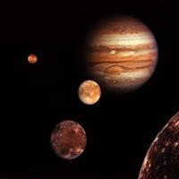 Montage of Jupiter and Moons