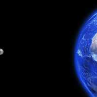 Moon and Earth in space