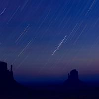 Star trails in the sky during the Perseid meteor shower
